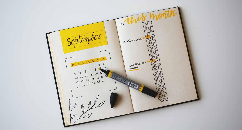 Handwritten Calendar with yellow marker