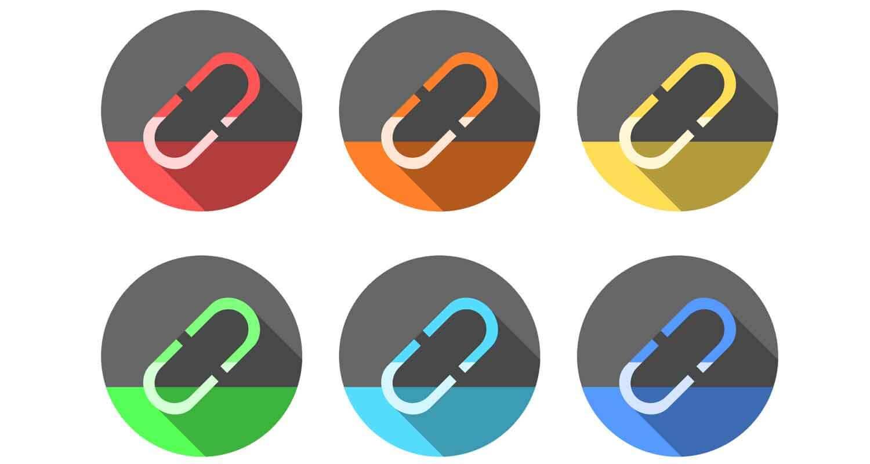 Six graphics of web links