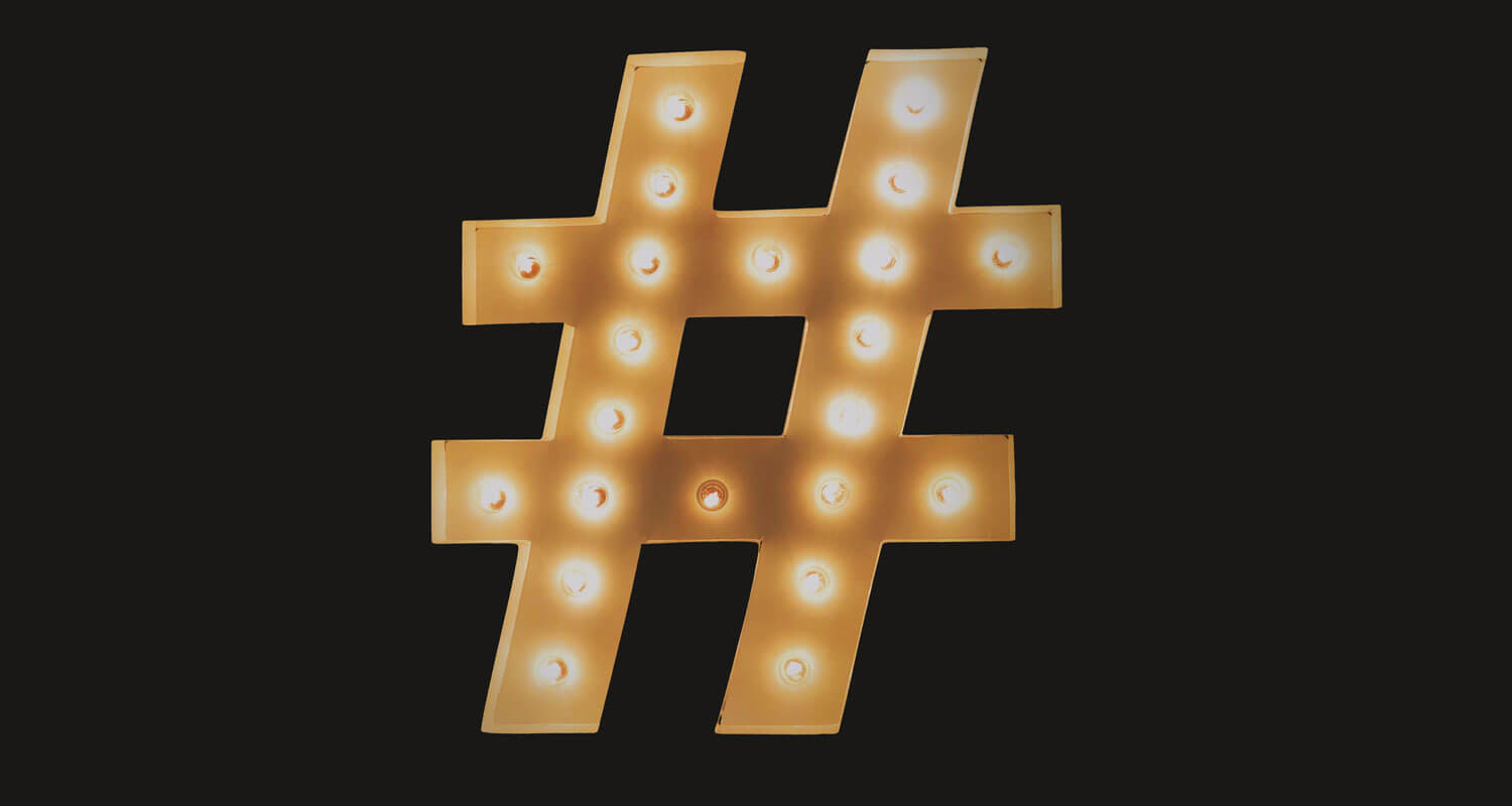 Light up hashtag sign